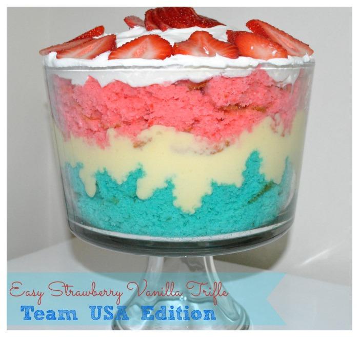 Easy Strawberry Vanilla Trifle {Team USA Edition}