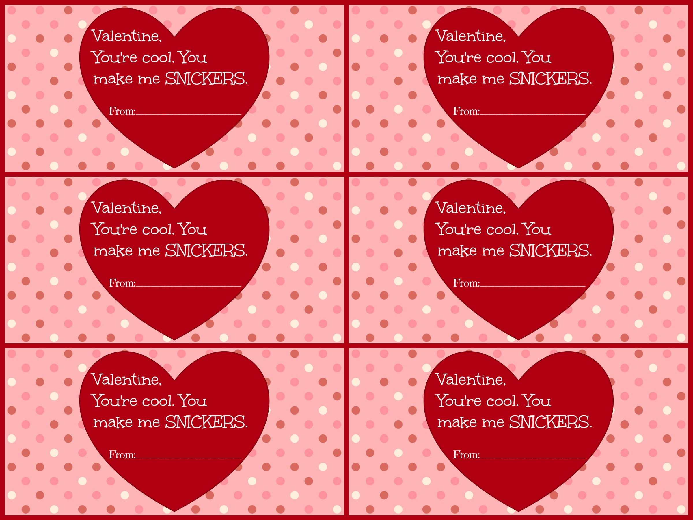 Free Valentines Day Cards PrintableSnickers edition – Valentines Day Cards Template