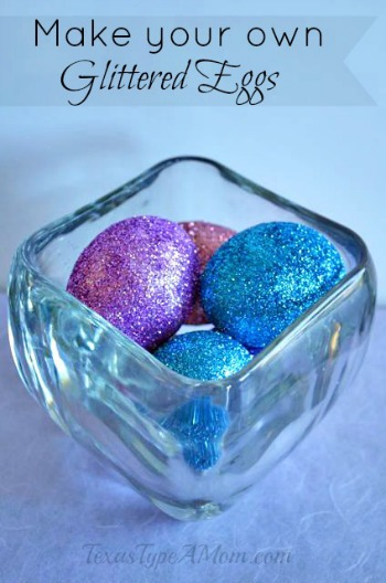 Glitter Decorated Easter Eggs