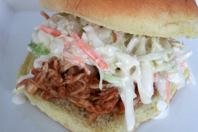 Pulled BBQ Chicken And Coleslaw Sandwiches