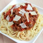 Spaghetti with San Marzano Tomato Meat Sauce. A delicious spaghetti and tomato meat sauce recipe that is both satisfying and easy to make!