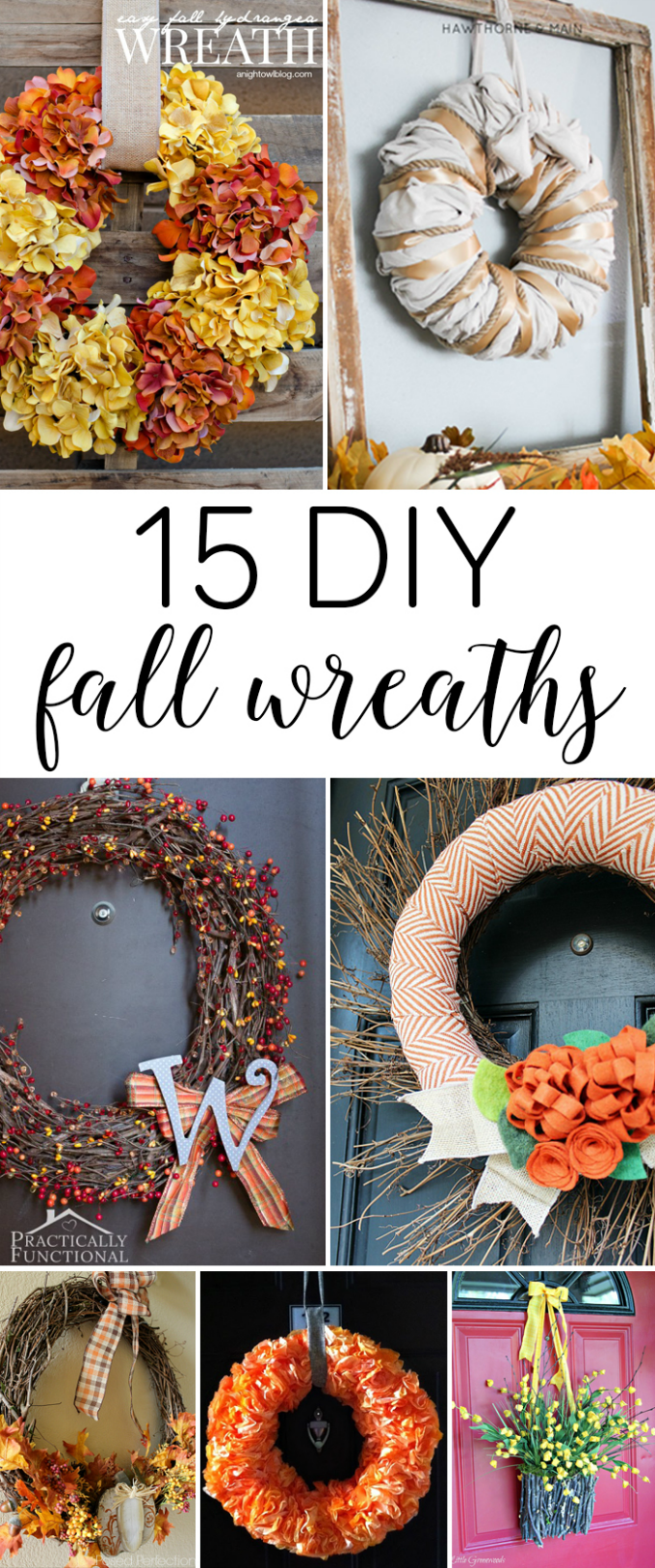 15 DIY Fall Wreaths. A round-up of 15 DIY fall wreath ideas that will inspire you to welcome the fall season.