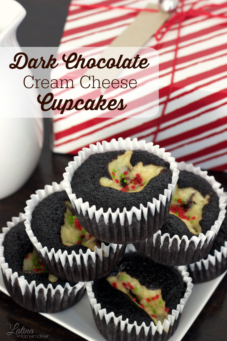 Dark Chocolate Cream Cheese Cupcakes. A moist dark chocolate cupcake that is filled with a cheesecake-like center. A recipe that will be a hit during the holidays and beyond!