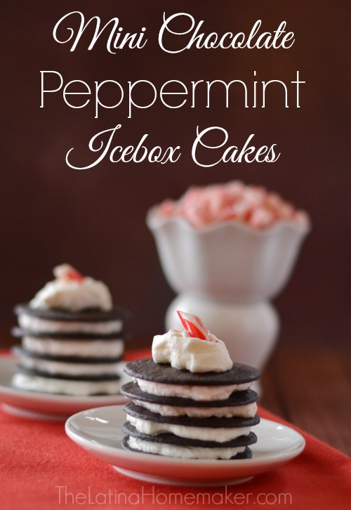 Mini Chocolate Peppermint Icebox Cakes. A hint of peppermint flavor combined with delicious chocolate, this dessert is sure to become a crowd-pleaser.