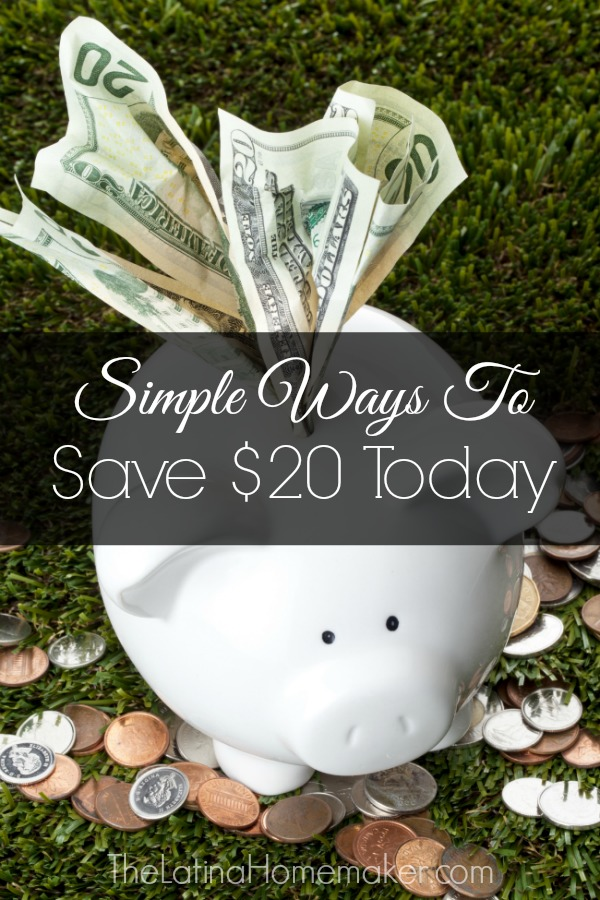 Simple Ways To Save $20 Today: Simple methods you can implement to save money on your day to day activities that will yield a savings of at least $20.