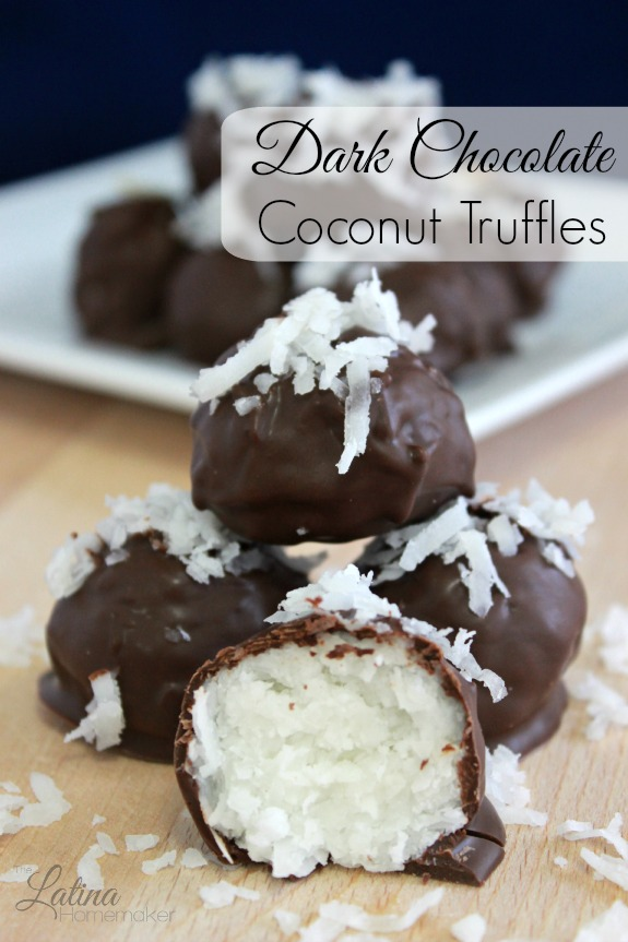 Dark Chocolate Coconut Truffles – An easy and simple recipe that combines coconut and dark chocolate for a deliciously rich and sweet treat minus the guilt!