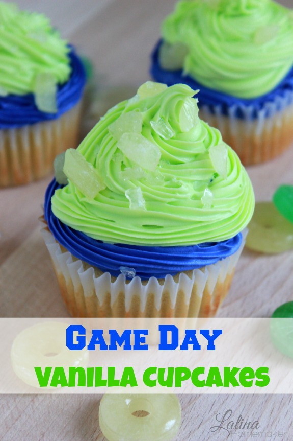 Game Day Vanilla Cupcakes-A delicious vanilla cupcake recipe with sweet white vanilla icing and crushed Life Savers that can be customized for game day.