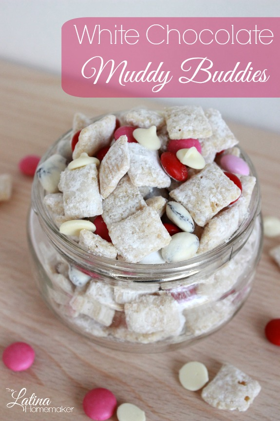 White Chocolate Muddy Buddies-A combination of white chocolate and vanilla frosted rice cereal make up this easy and delicious treat!