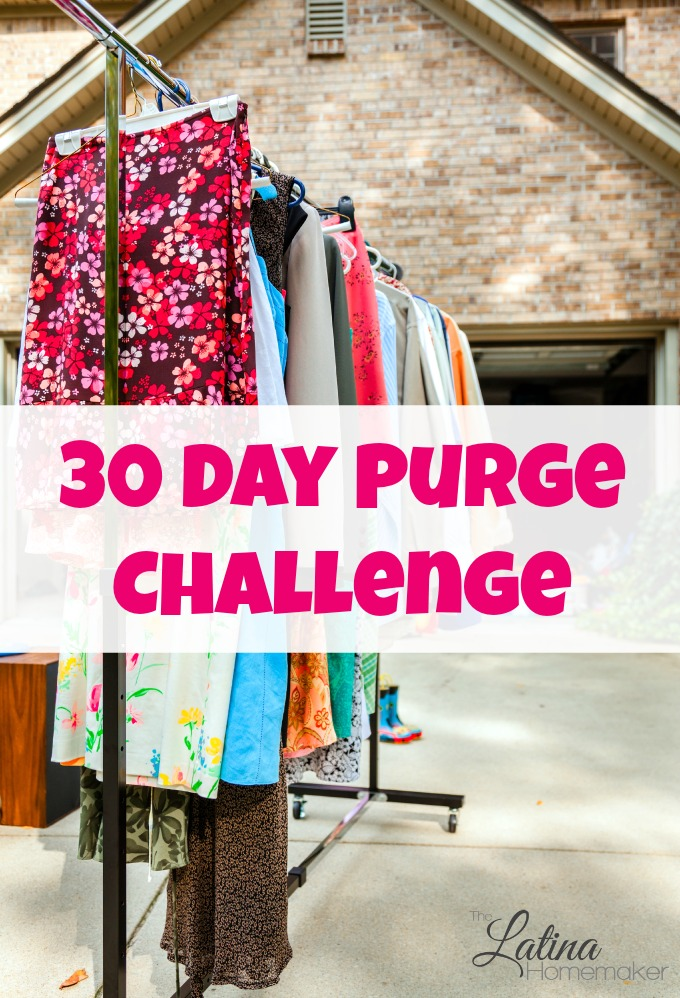 The 30 Day Purge Challenge. Will you join me? For 30 days I will purge five items each day in order to de-clutter and get rid of excess from our home.