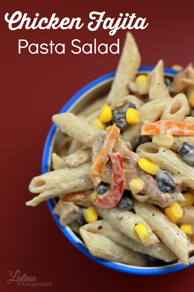 Chicken Fajita Pasta Salad. Delicious and easy to make, this pasta salad combines all of the ingredients of a chicken fajita. This is a great side dish addition to any family meal!