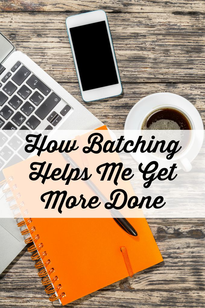 How Batching Helps Me Get More Done. I recently started to apply the concept of batching to my home and work tasks. It has been life changing and has enabled me to get more done in less time!