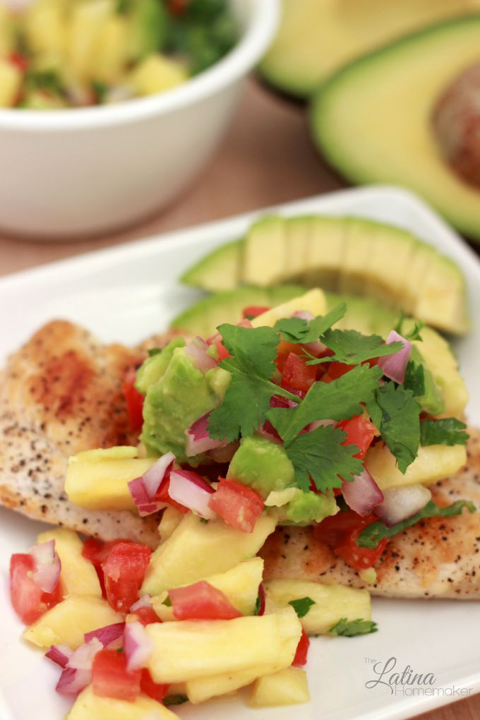 Grilled Chicken with Tropical Salsa-A delicious grilled chicken recipe topped with avocado and other flavorful ingredients to create a tasty and simple dish.