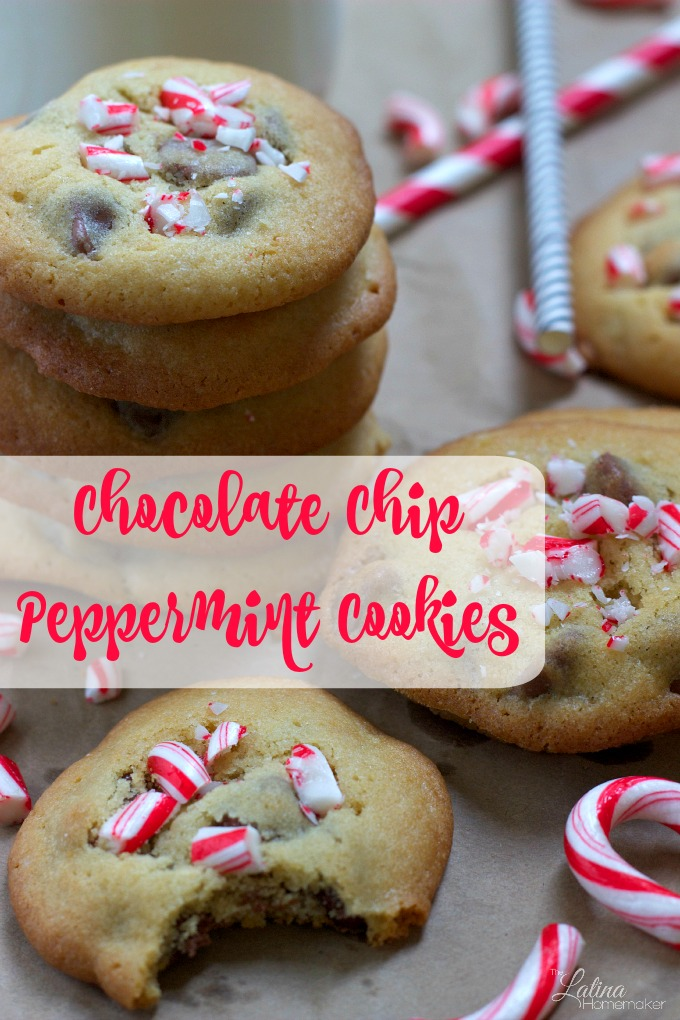 Chocolate Chip Peppermint Cookies-A delicious chocolate chip cookie recipe with a fun twist. I've been making this cookie recipe for several years and my kids never grow tired of them. You can make them with or without the crushed peppermint.