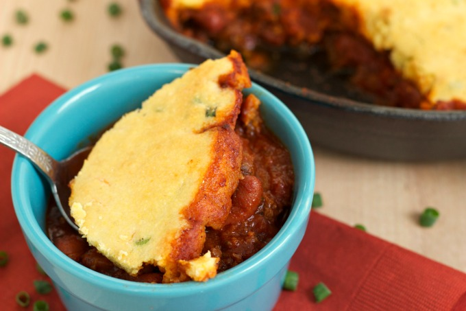 Chili and Cornbread Bake-This dish is hearty, full of flavor and perfect for family meals. An easy to make recipe that is also satisfying.