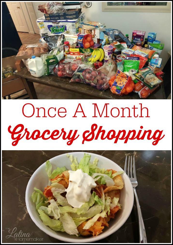 Once A Month Grocery Shopping {An Update}. A look at the pros and cons of our once a month grocery shopping experience.
