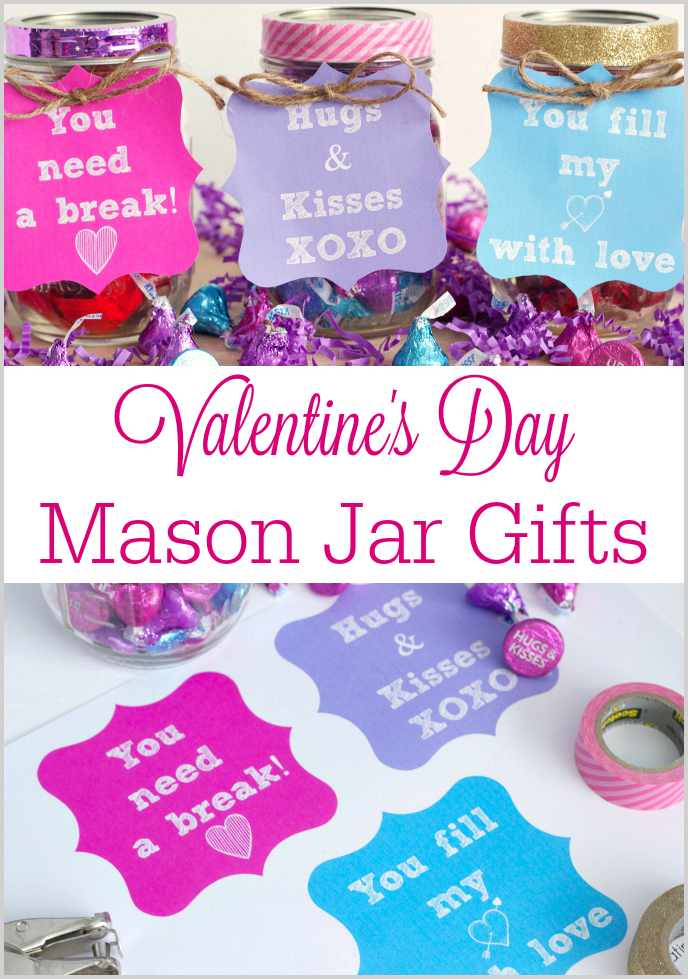 Valentine's Day Mason Jar Gifts. A fun and simple Valentine's Day mason jar gift along with FREE printable gift tags! Perfect to give as a gift to family and friends!