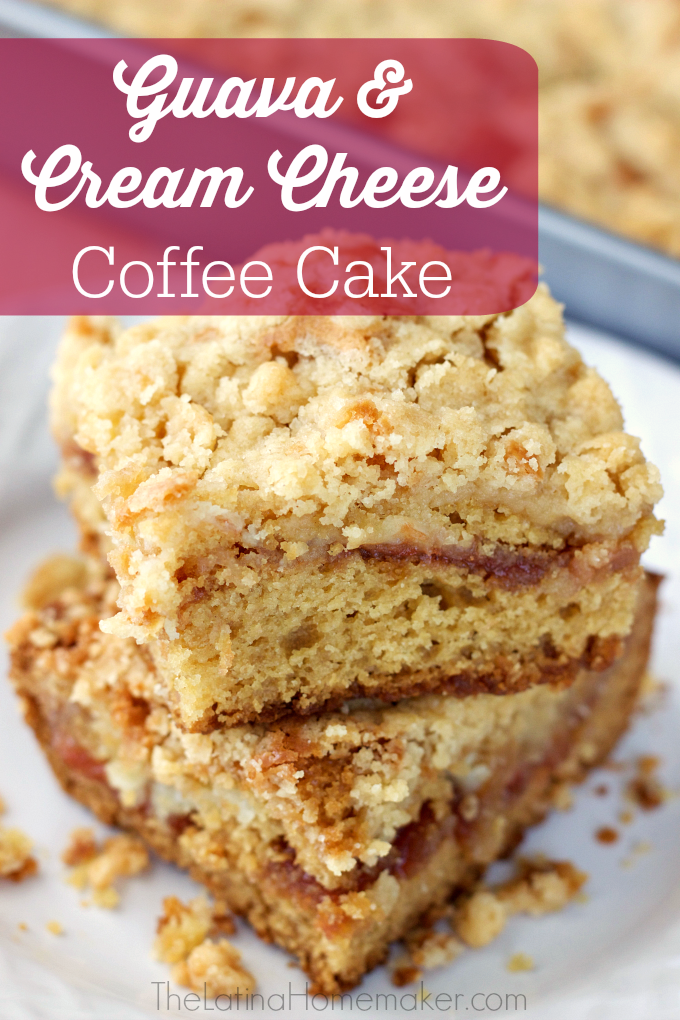 Guava and Cream Cheese Coffee Cake. This coffee cake is perfect for breakfast or dessert. A combination of guava, cream cheese and coffee cake make this recipe a must try!