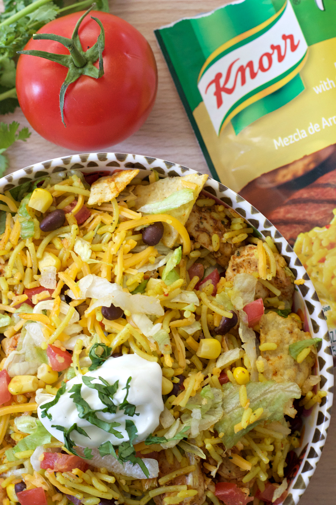 Chicken and Rice Taco Salad recipe. A super easy dinner idea that doesn't require a lot of time nor effort!