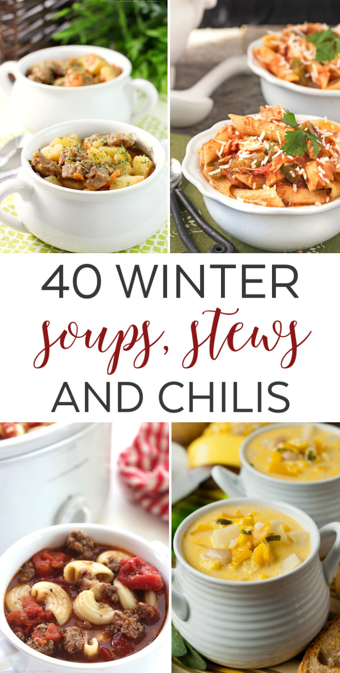 40 Winter Soups, Stews and Chilis. A delicious roundup of 40 winter soups, stews and chilis to keep your recipe queue filled this upcoming winter!